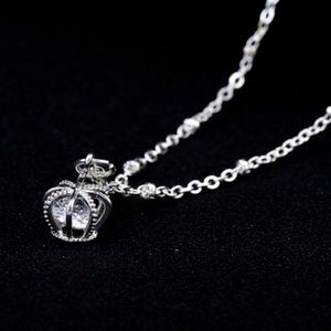 Jewelry - Silver Crown w/ Caged 💎 Necklace / (OS)